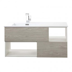 Cutler Kitchen & Bath Light Grey Woodgrain, White Sink 41.5-in Integral Single Sink Bathroom Vanity with Cultured Marble Top