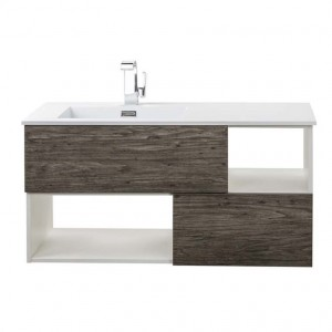 Cutler Kitchen & Bath Medium Grey Woodgrain, White Sink 41.5-in Integral Single Sink Bathroom Vanity with Cultured Marble Top