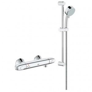 Grohe Grohtherm 122629 1000 THM Thermostatic Shower Kit With Hand Shower on Sliding Bar Finish Chrome