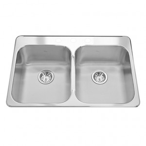 "Kindred RDL20313 Topmount double bowl sink stainless steel Reginox, 2 Bowls, 3 holes, 20 1/2"" x 31 1/4"""