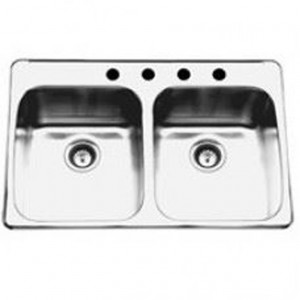 "Kindred RDL20314 Topmount double bowl sink stainless steel Reginox, 2 Bowls, 4 holes, 20 1/2"" x 31 1/4"""