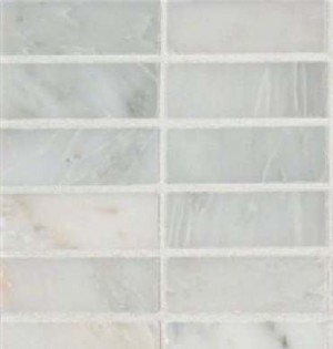 Interlocking Ceramic,Mosaic Wall Tile 1x3 Honed in 12x12 MeshArabescato Carrara (SMOT-ARA-1X3-H)