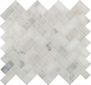 Interlocking Ceramic,Arabescato Carrara Mosaic Herringbone Pattern Honed in a Mesh (SMOT-ARA-HBH)