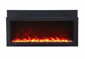 Amantii BI-50 XTRASLIM Slim Indoor or Outdoor Built-In Only Electric Fireplace With Black Steel Surround