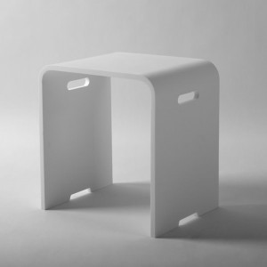 Jade ST-013 Kris Modern Bath And Shower Stool With Handles In Matte White