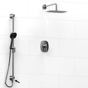 """Riobel 6323VYC Venty-Kit Collection Type T/P ½"""" Coaxial 2-Way System, And Shower Rail With Built-In Elbow Supply And Shower Head Chrome"""