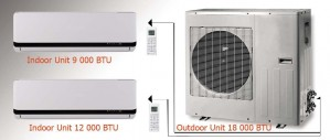 MULTI-ZONE DC INVERTER - M20912  DUAL ZONES (1 OUTDOOR UNIT of 18000 BTU + 1 INDOOR UNIT of 9000 BTU  + 1 INDOOR UNIT of 12000 BTU)