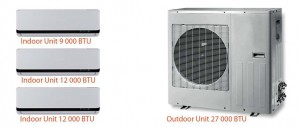 MULTI-ZONE DC INVERTER - M3091212  TRIAL ZONES (1 OUTDOOR UNIT of 27000 BTU + 1 INDOOR UNIT of 9000 BTU + 2 INDOOR UNITS of 12000 BTU)