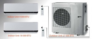 MULTI-ZONE DC INVERTER - M30918  DUAL ZONES (1 OUTDOOR UNIT of 27000 BTU + 1 INDOOR UNIT of 9000 BTU + 1 INDOOR UNIT of 18000 BTU)