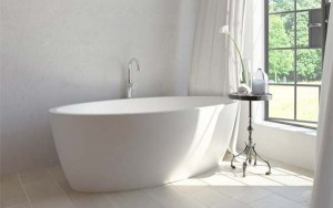 Tomlin - TOMMAYA-BAT Freestanding Quartz Bath In White 67""