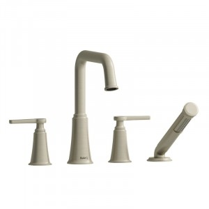 Riobel MMSQ12J Momenti Collection 4-Piece Deck-Mount Tub Filler With Hand Shower Chrome