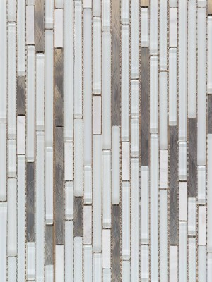 Interlocking Glass/Stainless Steel, Mesh-mounted Mosaic Wall Tile (GA1055S)