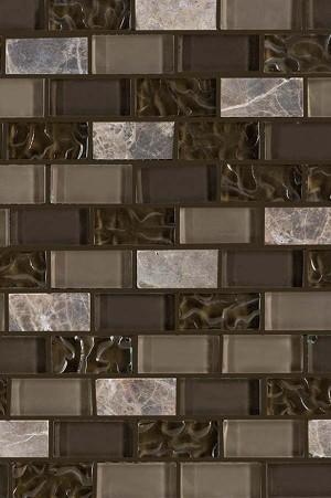 Interlocking Glass/Slate, Mesh-mounted Mosaic Wall Tile (JRM02)