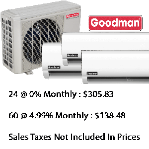 Goodman Triple Zone Heat Pump (2x12000+18000) Btu Seer 22.5 With Base Installation*