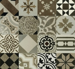 "Porcelain Tiles, Hydraulic Patchwork Natural (12""x12"")"
