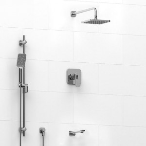 """Riobel 1345EQ Type T/P ½"""" Coaxial 3-Way System With Hand Shower Rail, Shower Head And Spout Chrome"""