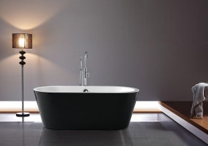 "Jade Freestanding Acrylic Bathtub Serenity Black Collection 62"""