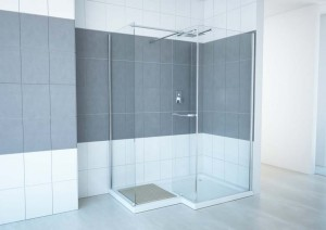 "Aluminum Walk-In Shower Lavender, Chrome  59"" (Base Included)"