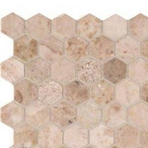 "Interlocking Ceramic, Crema Cappuccino 1"" Hexagon Polished(SMOT-CRECAP-1HEX)"