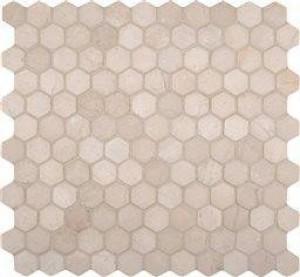 "Interlocking Ceramic, Crema Marfil 1"" Hexagon Tumbled In 12x12 Mesh(SMOT-CREM-1HEX)"