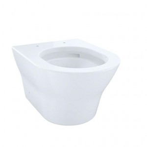 Toto CT437FGT2001 MH Wall-Hung D-Shape Dual-Flush 1.28 And 0.9 GPF Toilet Bowl With CeFiONtect, Cotton
