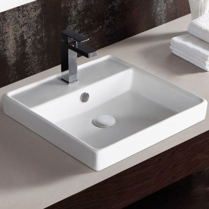 Jade TS-116 White Square Porcelain Counter Top Vessel Harland Collection