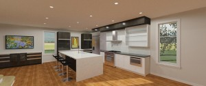 Transitional Style Kitchen In Oak Wood Veneer With Counter In Quartz From Vicostone And MDF Doors