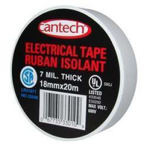 Cantech White Vinyl Electrical Tape - 7mil 18mmx20m