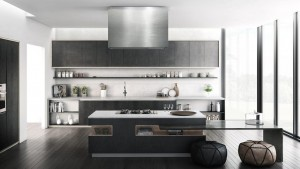 Modern Style Kitchen In Laminate With Two Colors & Flat Door (Promo #5)