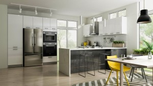 Contemporary Style Kitchen (16'x8') In Laminate With Glossy White Or Glossy Anthracite Grey Door